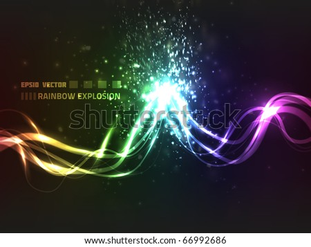 EPS10 vector abstract rainbow explosion design against dark background; bright lines explode upon colliding - stock vector