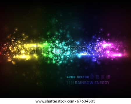 EPS10 vector abstract rainbow flow design against dark background; composition has a very bright look - stock vector