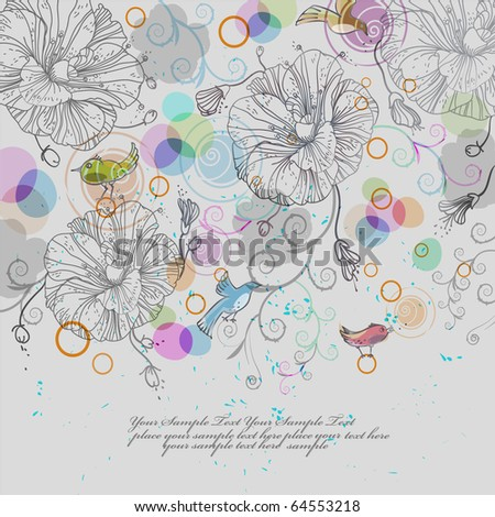 eps10 vector background with fantasy flowers,birds and colored bubbles - stock vector