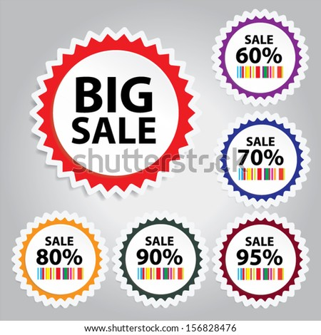 EPS10 Vector: Big Sale tags with Sale up to 60 - 95 percent text on colorful circle tags, stickers and labels. - stock vector