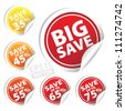 EPS10 Vector: Big Save tags with Save up to 35 - 75 percent text on circle tags - stock vector