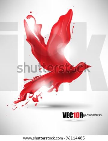 eps10 vector bird ink splat design - stock vector