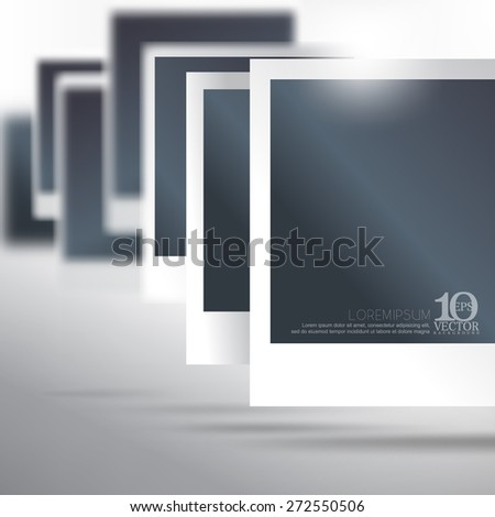 eps10 vector blank photo paper floating with depth of field business background - stock vector