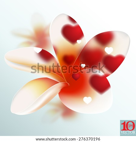 eps10 vector blossom flower red defocused lights frangipani floral background - stock vector