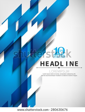 eps10 vector blue embossed overlapping motion geometric elements hi-tech corporate business background - stock vector