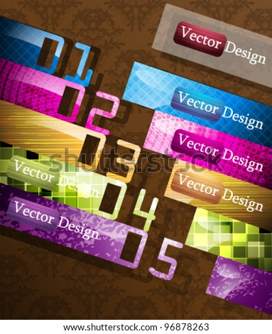 Eps10 Vector Bookmarks with Numbers Design Elements for your Business Success - stock vector