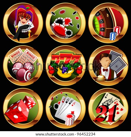 eps8 vector casino or gambling icons set. - stock vector