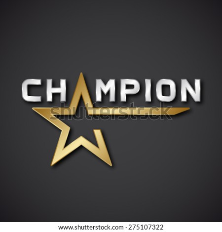 EPS10 vector champion golden star inscription icon - stock vector