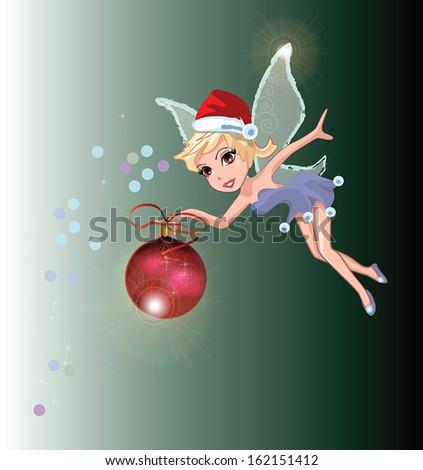 eps10 vector Christmas festive winged fairy with a ball - stock vector