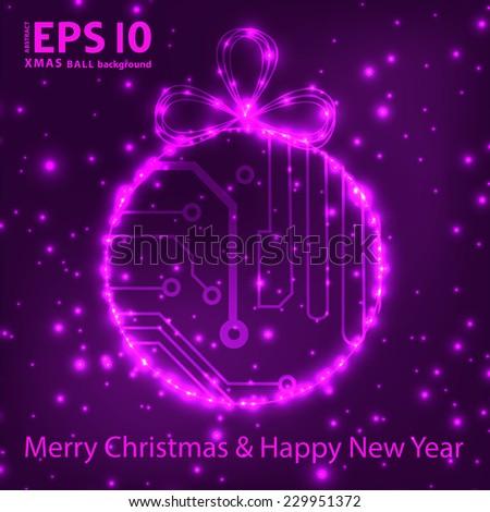 EPS10 vector circuit board ball christmas background texture  - stock vector