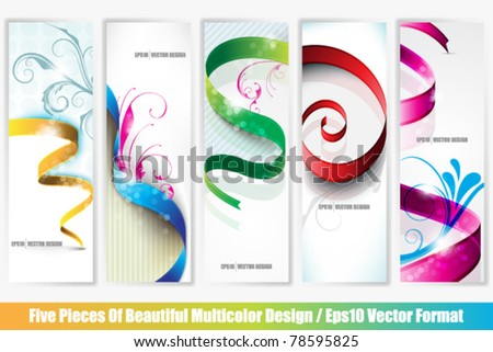 eps10 vector collection of five multicolor banners with ribbon designs - stock vector
