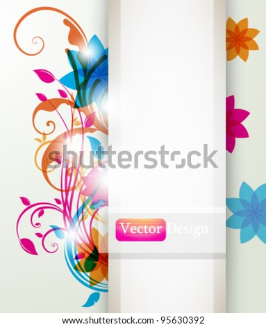Eps10 Vector Colorful Abstract Foliage Design Background - stock vector