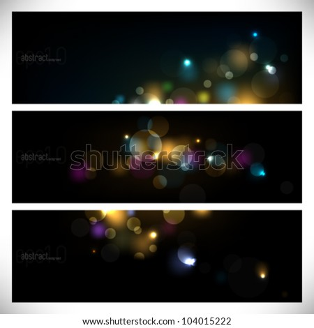 eps10 vector colorful abstract lights on dark background - stock vector