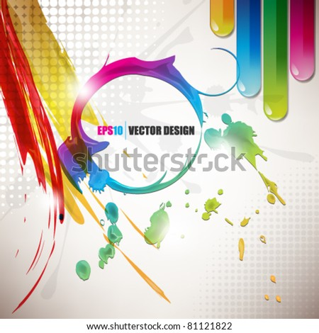 eps10 vector colorful trendy ink and paint splatter design