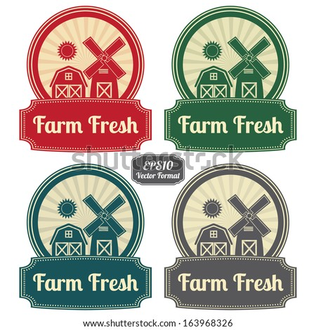 EPS10/Vector : Colorful Vintage Style Farm Fresh Icon, Label or Sticker Set Isolated on White Background - stock vector