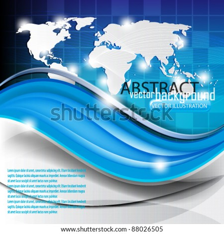 eps10 vector corporate elegant wave and map design background