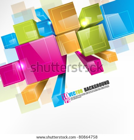 eps10 vector 3d colorful boxes in perspective view - stock vector
