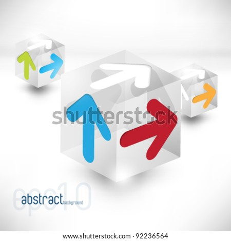 eps10 vector 3d cubes with arrows background - stock vector