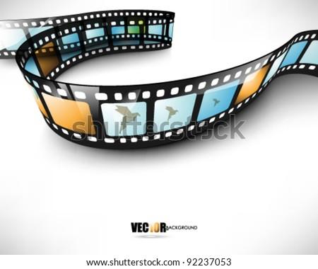 eps10 vector 3d film strip design - stock vector