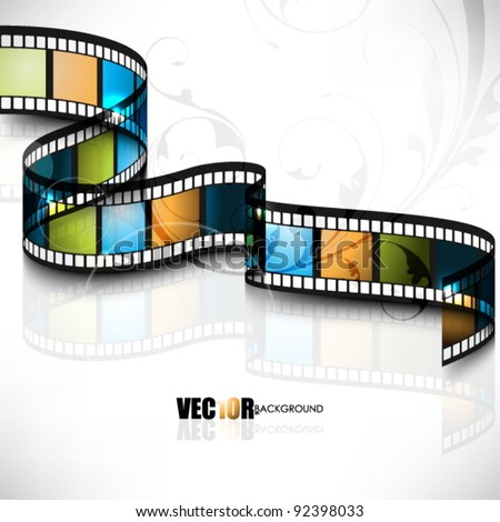 eps10 vector 3d film strip design with floral element in the background - stock vector