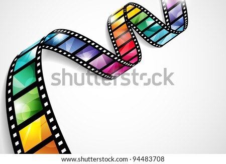 EPS10 vector design with a bright and colorful film strip - stock vector