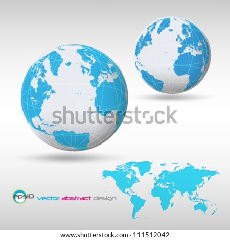 eps10 vector detailed globe template and world map - stock vector