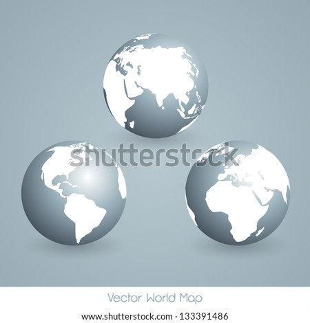 EPS10 Vector Earth Globe Set - stock vector