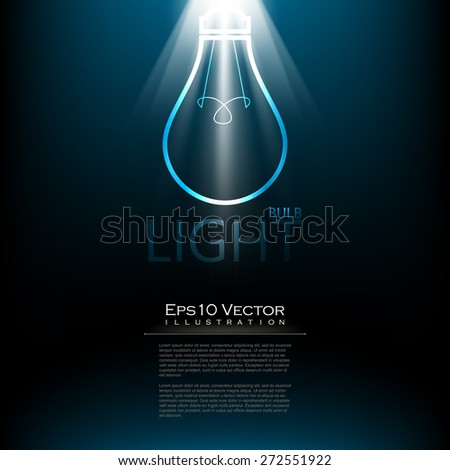 eps10 vector elegant spotlight effect with light bulb drawing electronics background illustration - stock vector