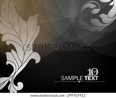 eps10 vector elegant wedding invitation leaf foliage silhouette dark transparent elements background - stock vector