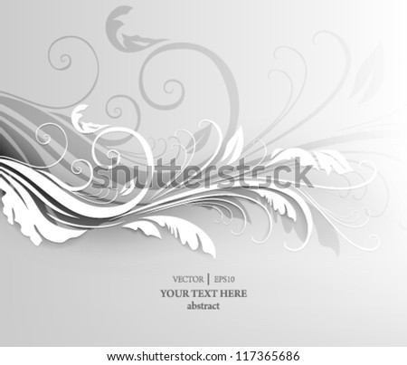 eps10 vector elegant white floral concept background - stock vector