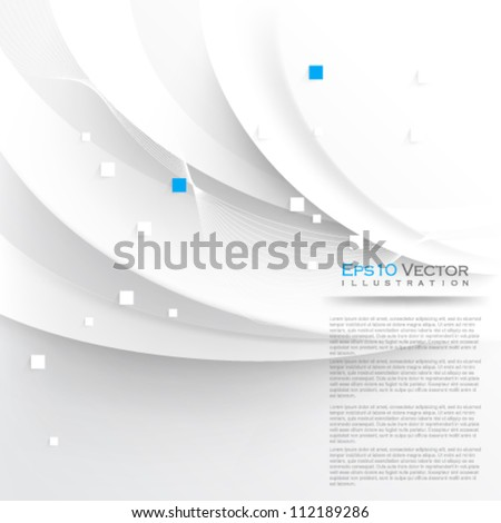 eps10 vector elegant white waves background illustration - stock vector