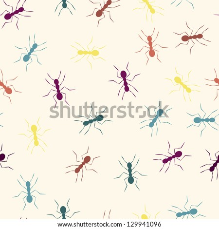 EPS 10 vector file. Colourful ants seamless pattern. Raster version available in my portfolio - stock vector