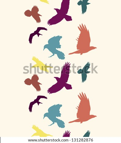 EPS 10 vector file. Colourful birds silhouettes vertical seamless pattern. Raster version available in my portfolio - stock vector