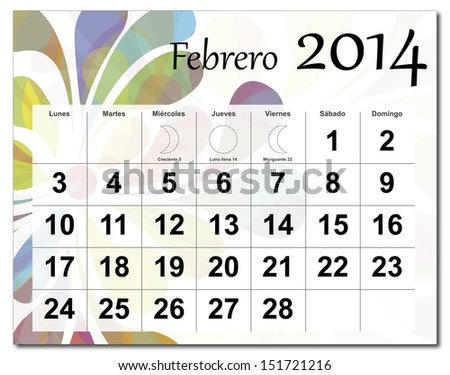 EPS10 vector file. Spanish version of February 2014 calendar. The EPS file includes the version in blue, green and black in different layers. Raster version available in my portfolio. - stock vector