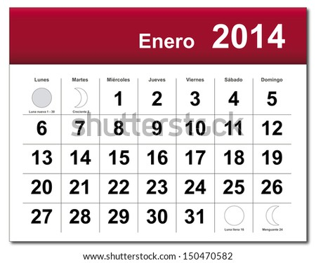 EPS10 vector file. Spanish version of January 2014 calendar. The EPS file includes the version in blue, green and black in different layers. Raster version available in my portfolio. - stock vector