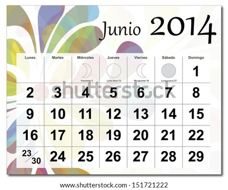 EPS10 vector file. Spanish version of June 2014 calendar. The EPS file includes the version in blue, green and black in different layers. Raster version available in my portfolio. - stock vector