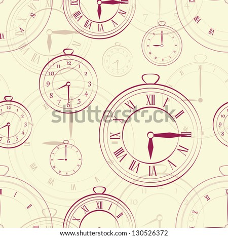 EPS 10 vector file. Watch vintage seamless over black bakground. Raster version available in my portfolio - stock vector