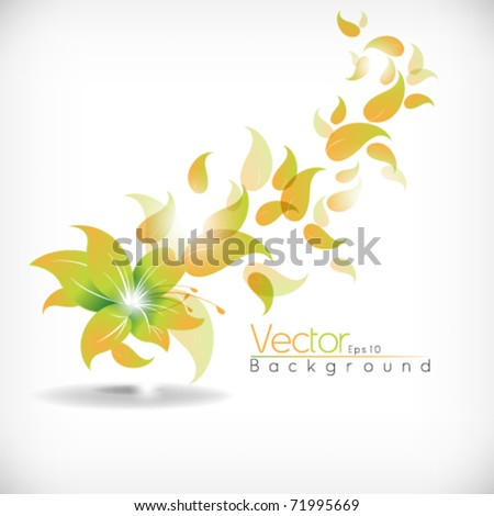 eps10 vector flower with leaves concept design - stock vector