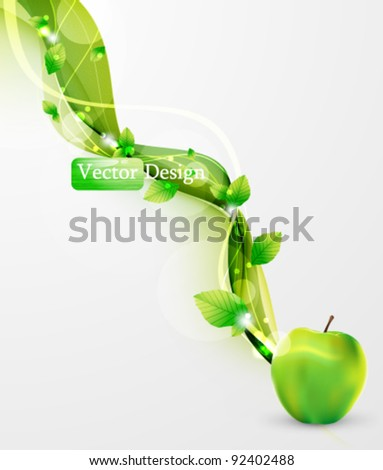 Eps10 Vector Fresh Green Apple with Leaves Background Design - stock vector