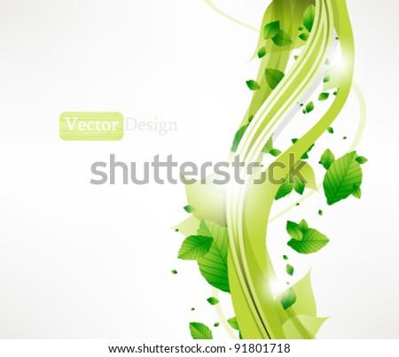 Eps10 Vector Fresh Green Leaves Concept Background Design - stock vector