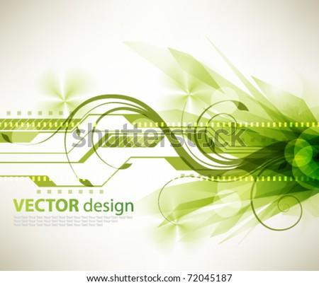 eps10 vector futuristic burst green design - stock vector