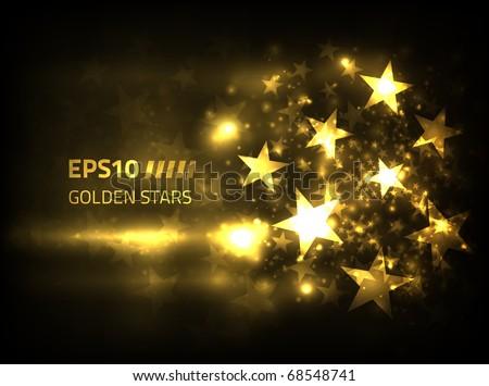 EPS10 Vector golden stars design against dark background - stock vector
