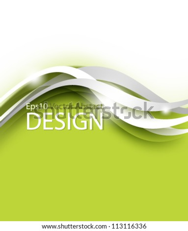 Eps10 Vector Green Background with Stylish Wave Design - stock vector
