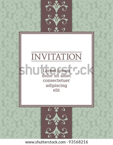 EPS 10 vector greeting card template in vintage style. Elements are grouped and layered for easy editing. Drop shadows are also on separate layers and easy to be removed. - stock vector