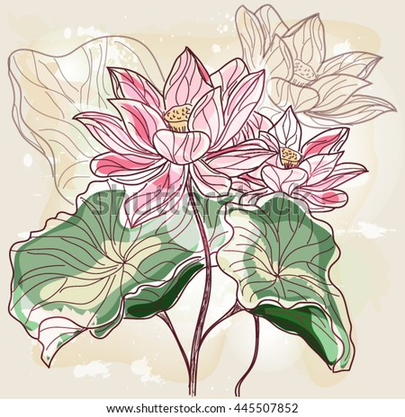 Eps10 vector - Hand drawn water lilies - stock vector