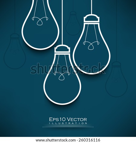 eps10 vector hanging light bulb outline drawing background illustration - stock vector