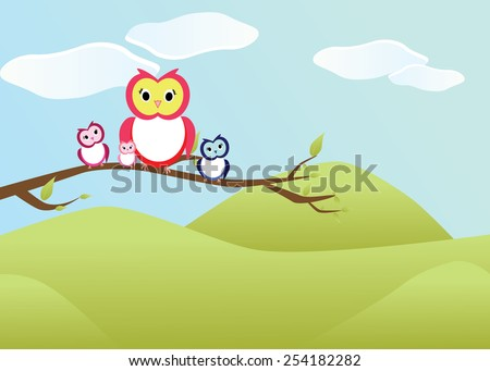 Eps 10 vector happy cute owls family sitting on tree branch in nature, light blue background and green grass. Funny colorful wallpaper, greeting card, postcard. Summer nature, animals, illustration. - stock vector