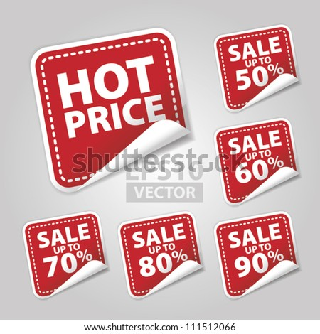 EPS10 Vector: Hot Price Tags with sale up to 50 - 90 percent text on red square background - stock vector