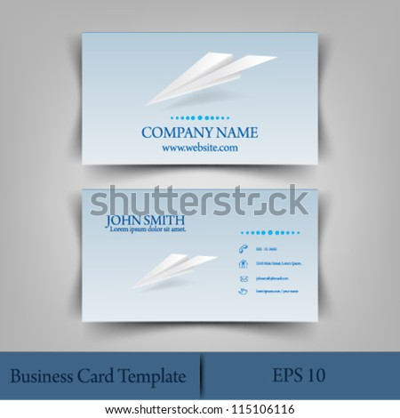 eps10 vector illustration abstract origami plane business card template concept design - stock vector