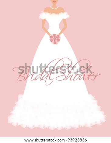 EPS10 vector illustration of a beautiful bride's dress. Background and bride are grouped and placed on separate layers. See my portfolio for more wedding themed images. - stock vector